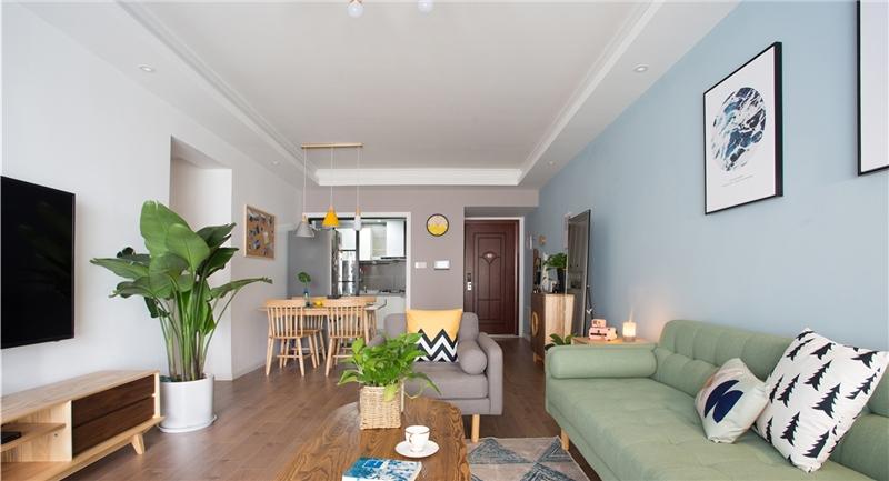 北京市通州區藍調沙龍小清新一居室裝修效果圖