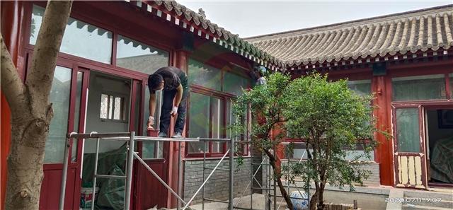 北京市房山區常樂寺村四合院裝修施工現場